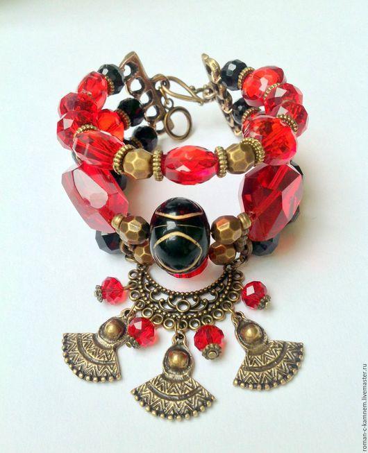 Комплект - браслет и серьги из хрусталя в этническом стиле Инфанта в черно-красной цветовой гамме. Дорогой подарок для стильных женщин и девушек.