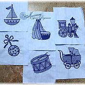Материалы для творчества ручной работы. Ярмарка Мастеров - ручная работа Вышитые фрагменты для лоскутного шитья. Handmade.