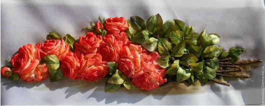 Картины цветов ручной работы. Ярмарка Мастеров - ручная работа. Купить Красные розы лежащие на столе.. Handmade. Комбинированный