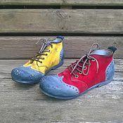 Обувь ручной работы. Ярмарка Мастеров - ручная работа Разноцветные броги из нубука БАРСЕЛОНА красно-желтые. Handmade.