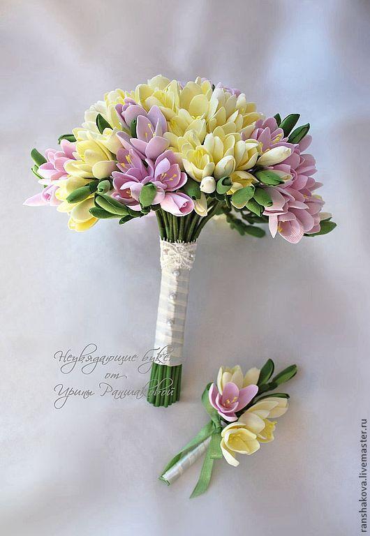 Свадебные цветы ручной работы. Ярмарка Мастеров - ручная работа. Купить Букет невесты из фрезий. Handmade. Бледно-розовый