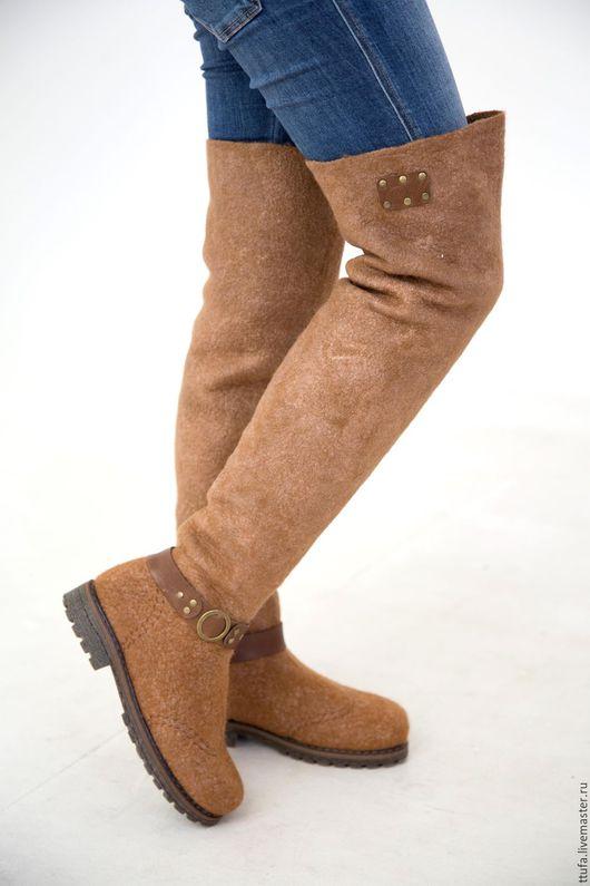 """Обувь ручной работы. Ярмарка Мастеров - ручная работа. Купить Валяные ботфорты """"Корица"""" 36-37 р.. Handmade. Рыжий"""