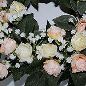 Интерьерные венки ручной работы. Ярмарка Мастеров - ручная работа Венок интерьерный с розами. Handmade.