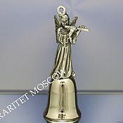 Винтаж ручной работы. Ярмарка Мастеров - ручная работа Колокольчик ангел латунь олово серебрение 74. Handmade.