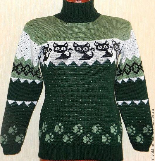 Кофты и свитера ручной работы. Ярмарка Мастеров - ручная работа. Купить Вязаный свитер  Котенок Гав. Handmade. Тёмно-зелёный