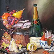 Картины и панно ручной работы. Ярмарка Мастеров - ручная работа картина маслом. Шампанское и фрукты ( Р. Кэмбэл). Handmade.