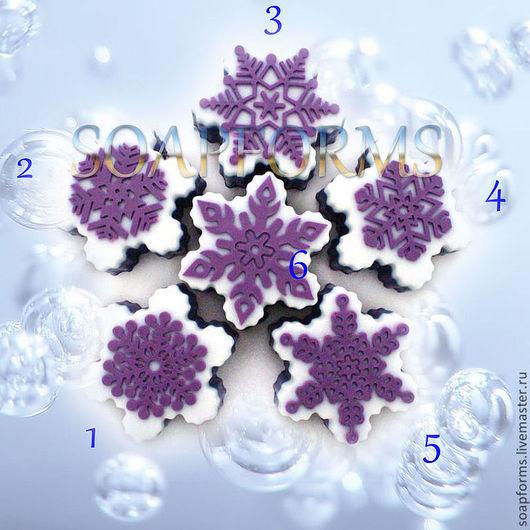 Форма силиконовая для мыла `Снежинка 1-6` 2D (на фото работы выполненные в мыле) Купить силиконовую форму для мыла `Снежинка 1-6` 2D