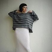 Одежда ручной работы. Ярмарка Мастеров - ручная работа Трикотажный теплый полосатый пуловер. Handmade.