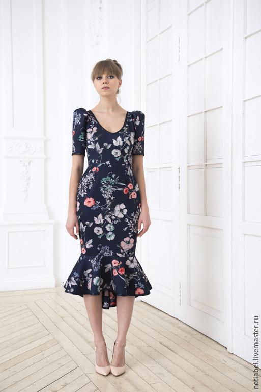Платья ручной работы. Ярмарка Мастеров - ручная работа. Купить Коктейльное платье. Handmade. Тёмно-синий, летнее платье