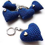 Сумки и аксессуары handmade. Livemaster - original item Keychain 5 cm Knitted heart blue. Handmade.