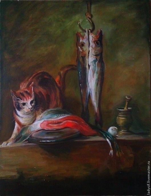 """Натюрморт ручной работы. Ярмарка Мастеров - ручная работа. Купить Картина -копия """"Натюрморт с кошкой"""". Handmade. Масло, кошка"""