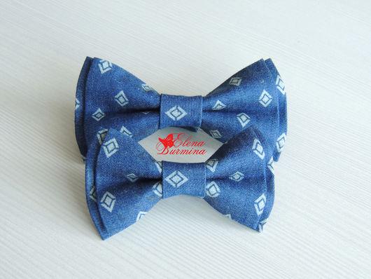 Галстуки, бабочки ручной работы. Ярмарка Мастеров - ручная работа. Купить Комплект бабочек-галстуков папа-сын, джинс. Handmade.