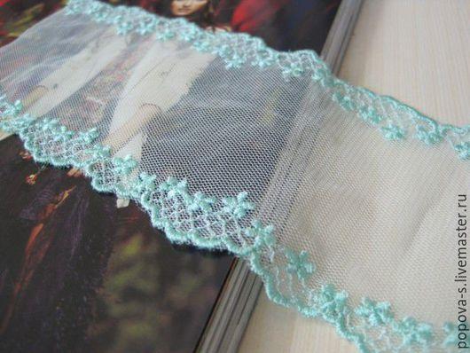 Шитье ручной работы. Ярмарка Мастеров - ручная работа. Купить Кружево с вышивкой на сетке 7,5 см. Handmade. Мятный