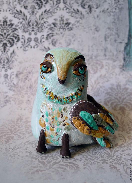 Статуэтки ручной работы. Ярмарка Мастеров - ручная работа. Купить Былинная сова. Handmade. Тёмно-бирюзовый, совушка, птица, Керамика