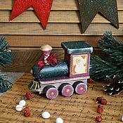 Подарки к праздникам ручной работы. Ярмарка Мастеров - ручная работа Паровозик дедушки  Мороза - винтажный.... Handmade.