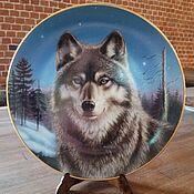 Винтаж handmade. Livemaster - original item Plate in the collection Winter Solitude or Wolf, USA vintage. Handmade.