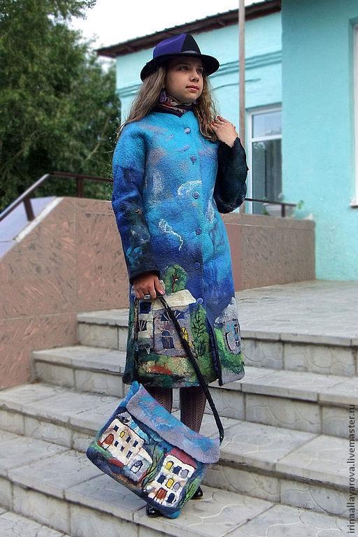 """Верхняя одежда ручной работы. Ярмарка Мастеров - ручная работа. Купить Пальто валяное """"Сумерки в городе"""". Handmade. Пальто"""