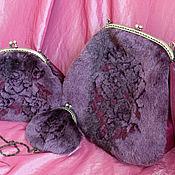 """Сумки и аксессуары ручной работы. Ярмарка Мастеров - ручная работа Комплект """"Fur Rose"""" сумка, кожа, фермуар.. Handmade."""