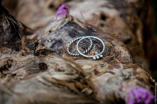 Кольца ручной работы. Ярмарка Мастеров - ручная работа. Купить Точка-тире - набор из двух серебряных колец. Handmade. Серебро