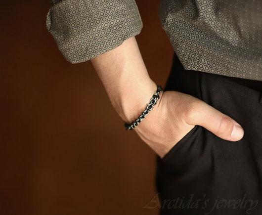 """Украшения для мужчин, ручной работы. Ярмарка Мастеров - ручная работа. Купить Мужской браслет """"Adonis"""" Chainmaille Черненое Серебро. Handmade."""