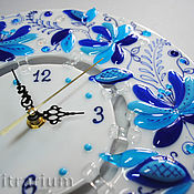 Для дома и интерьера handmade. Livemaster - original item Glass clock on the wall, fusing