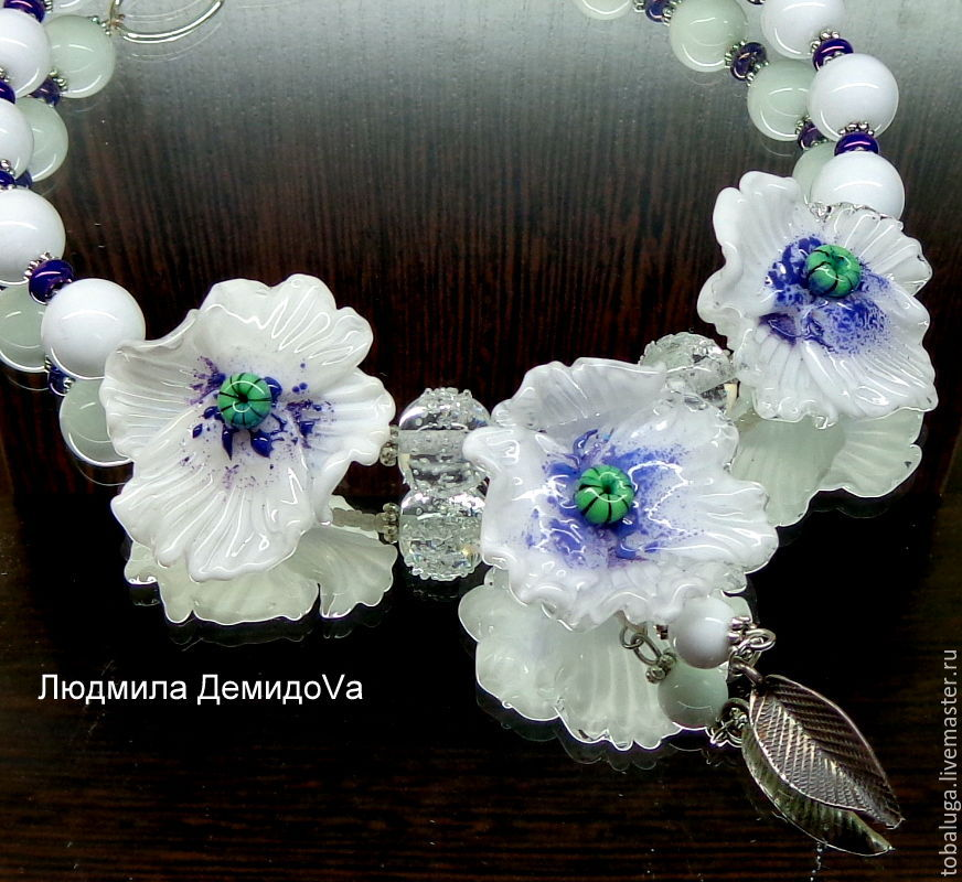 Poppies necklace white lampwork, Necklace, St. Petersburg,  Фото №1