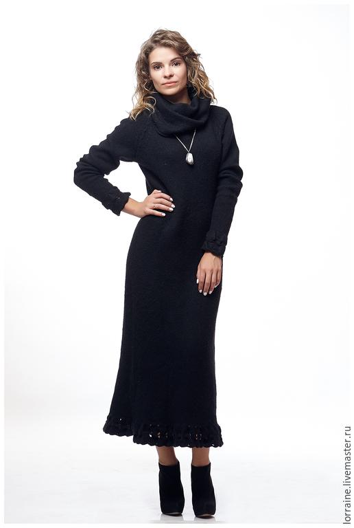 Платье женское `Кошка`. Авторская коллекция 2015 года. Lorraine Woolheart.  Состав:  Ангора 100% Размер: XS; S; M Цвет: Черный