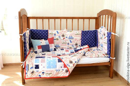 Для новорожденных, ручной работы. Ярмарка Мастеров - ручная работа. Купить Комплект в детскую кроватку. Handmade. Тёмно-синий