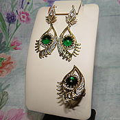 "Украшения handmade. Livemaster - original item Set ""Your green eyes"" from 925 sterling silver. Handmade."