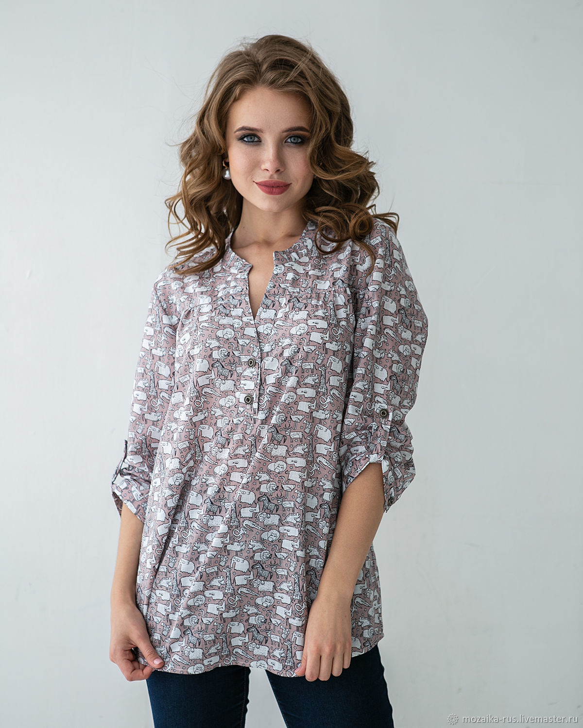 Blouse-tunic for a good mood, Zoo, Blouses, Novosibirsk, Фото №1