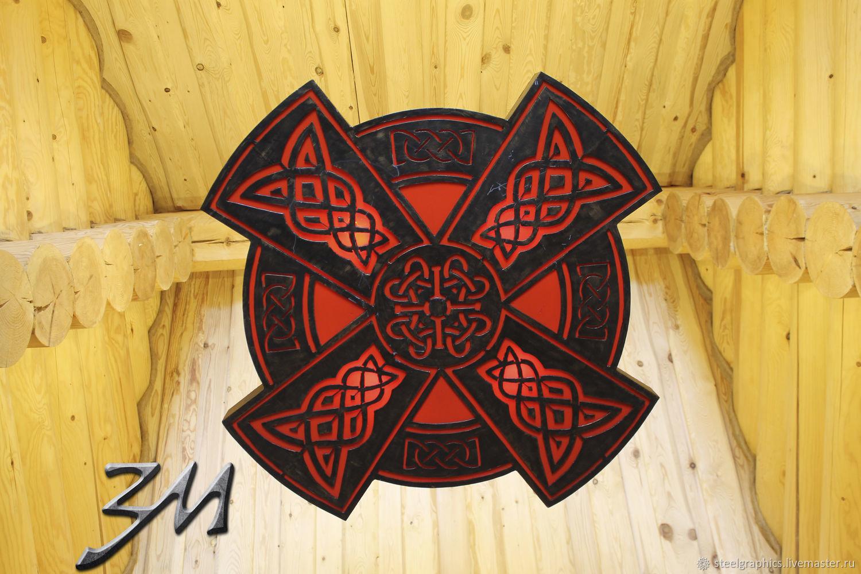 Люстра из металла Кельтский крест в технике сталеграфика на цепях, Люстры, Нижний Новгород,  Фото №1