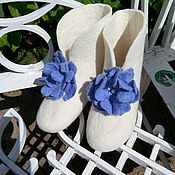 """Обувь ручной работы. Ярмарка Мастеров - ручная работа """"Незабудки"""" чуни для дома валяные. Handmade."""