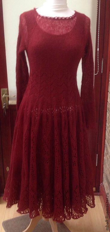"""Платья ручной работы. Ярмарка Мастеров - ручная работа. Купить Ажурное платье из кид-мохера """"Бургундия"""". Handmade. Бордовый"""