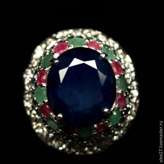 Кольцо сапфир изумруд 18,8 серебро 925