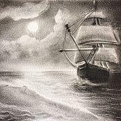 Картины ручной работы. Ярмарка Мастеров - ручная работа картина Лунный кильватер. Handmade.
