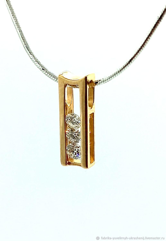 Золотая подвеска 585 с природными бриллиантами круг, Подвеска, Москва,  Фото №1