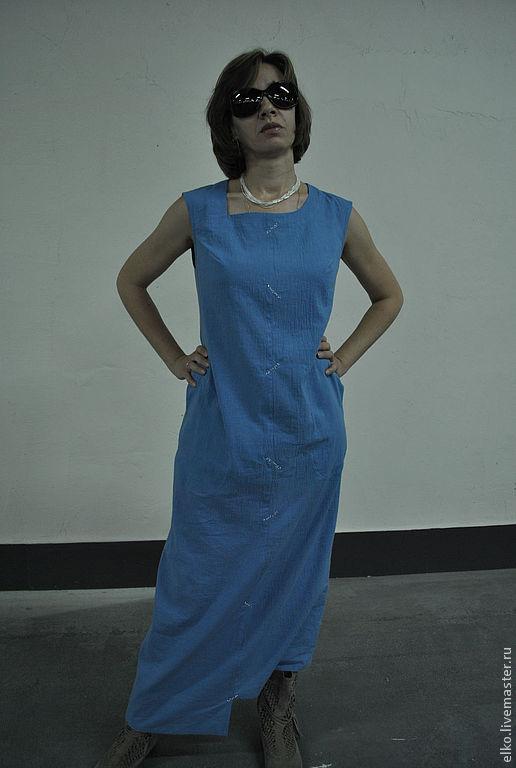 Платья ручной работы. Ярмарка Мастеров - ручная работа. Купить Асимметричное голубое платье с серебряными насечками. Handmade. Голубой, удобное