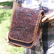 """Мужская сумка ручной работы. Ярмарка Мастеров - ручная работа Кожаная сумка мужская """"вертикальная"""" коричневая. Handmade."""