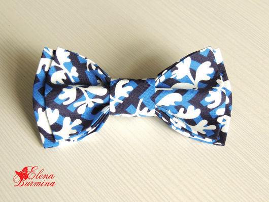 Галстуки, бабочки ручной работы. Ярмарка Мастеров - ручная работа. Купить Бабочка галстук сине-черная, хлопок. Handmade. Синий