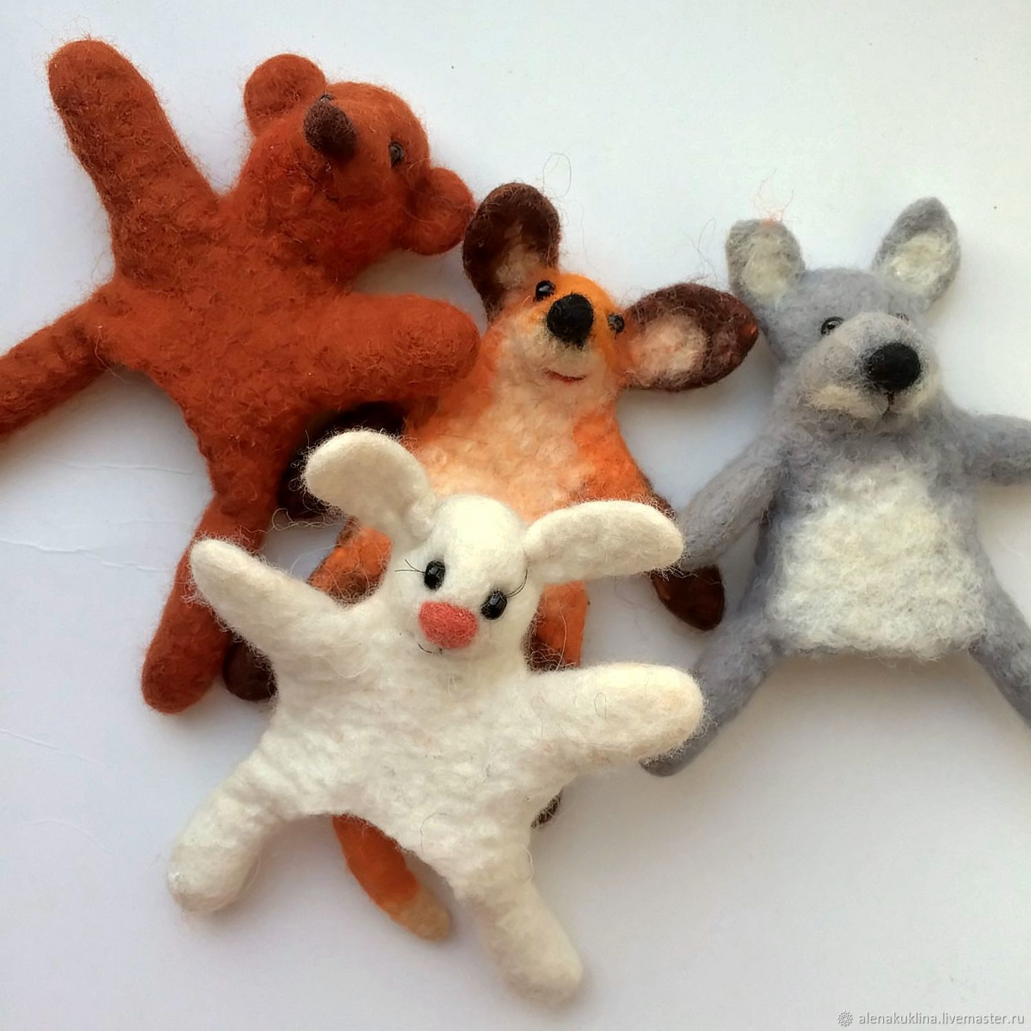 Bibabo animals: Bunny, Fox, mole, dog, bear, Felted Toy, Blagoveshchensk,  Фото №1