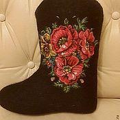 """Обувь ручной работы. Ярмарка Мастеров - ручная работа Валенки в комплекте с платком """"Маков цвет"""". Handmade."""