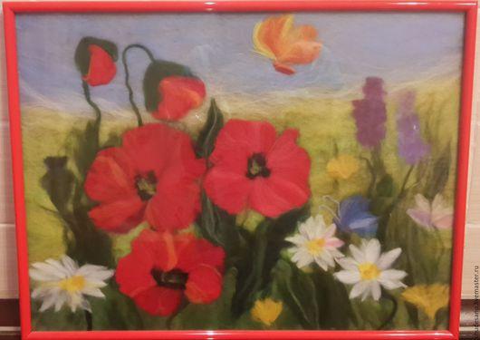 """Картины цветов ручной работы. Ярмарка Мастеров - ручная работа. Купить Картина из шерсти """"Маки"""". Handmade. Комбинированный, картина для интерьера"""