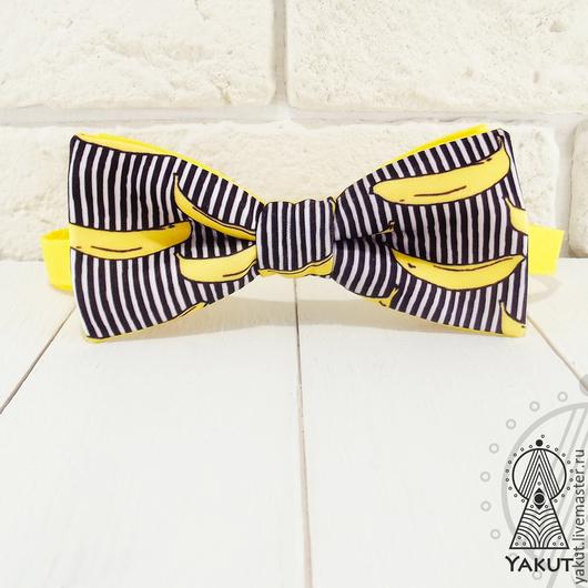 Галстуки, бабочки ручной работы. Ярмарка Мастеров - ручная работа. Купить Галстук бабочка Полосатый банан атлас / бабочка-галстук. Handmade.