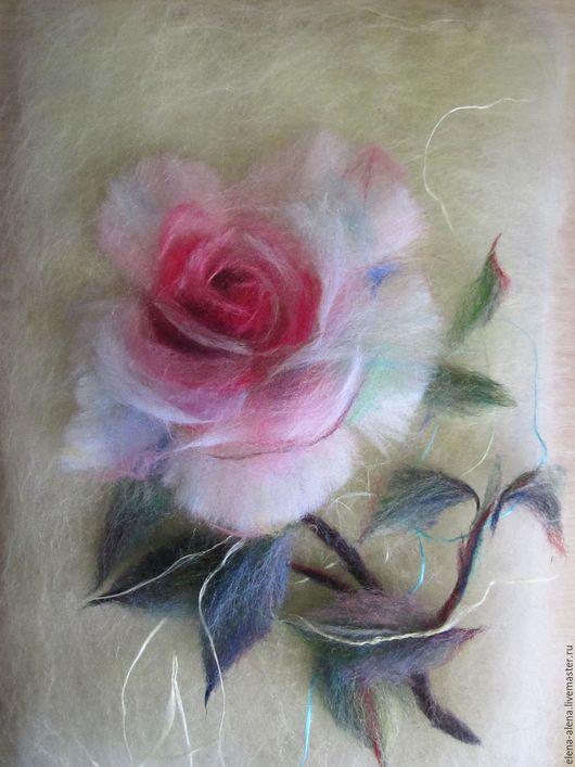 Картины цветов ручной работы. Ярмарка Мастеров - ручная работа. Купить Картина из шерсти Розочка. Handmade. Розовый, подарок для девушки