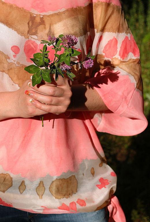 """Блузки ручной работы. Ярмарка Мастеров - ручная работа. Купить блуза """"Утренняя роза"""". Handmade. Узелковый батик, кимоно"""