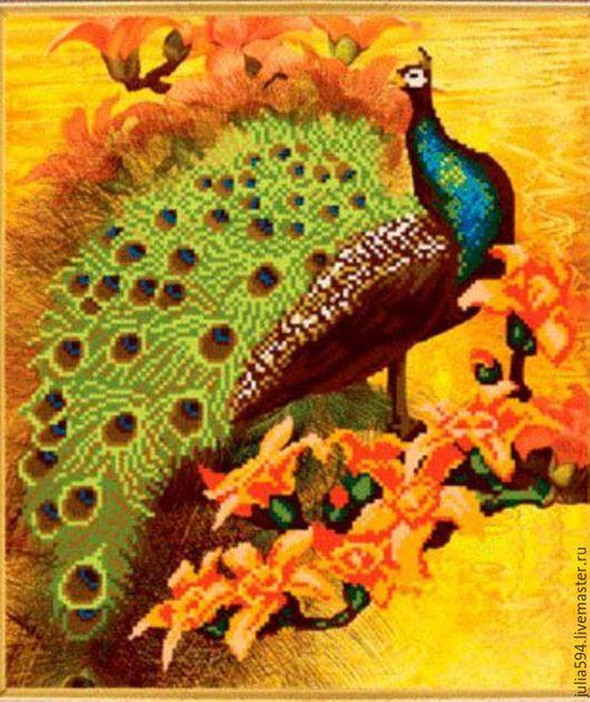 """Животные ручной работы. Ярмарка Мастеров - ручная работа. Купить Картина из бисера """"Жар-птица"""" вышивка. Handmade. Желтый, что подарить"""