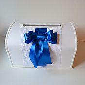 Свадебный салон ручной работы. Ярмарка Мастеров - ручная работа Сундук свадебный белый с синим бантом. Handmade.
