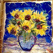 Картины и панно ручной работы. Ярмарка Мастеров - ручная работа Валяная картина Подсолнухи маленькая. Handmade.