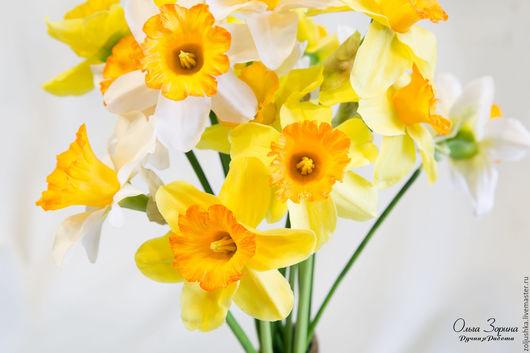 Цветы ручной работы. Ярмарка Мастеров - ручная работа. Купить Нарциссы. Handmade. Нарциссы, подарок на любой случай