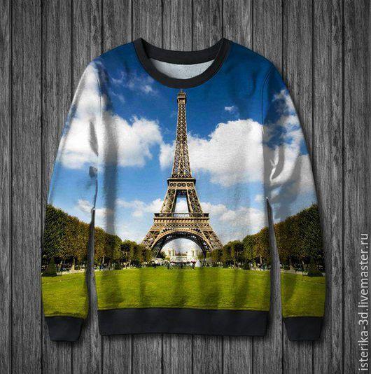 """Кофты и свитера ручной работы. Ярмарка Мастеров - ручная работа. Купить Свитшот с принтом """"Города мира. Париж"""" - отличный подарок. Handmade."""
